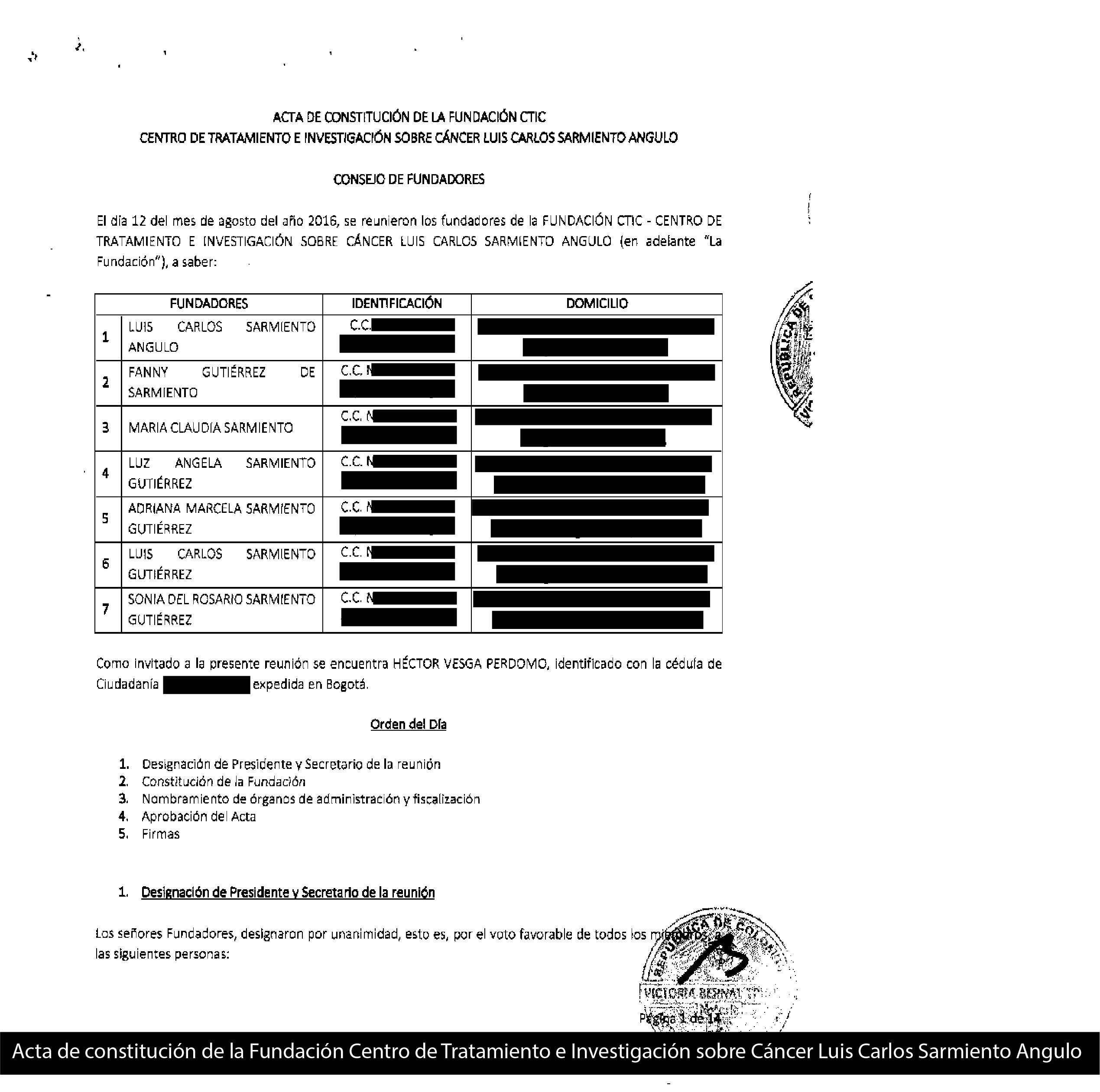 Acta de constitución de la Fundación Centro de Tratamiento e Investigación sobre Cáncer Luis Carlos Sarmiento Angulo