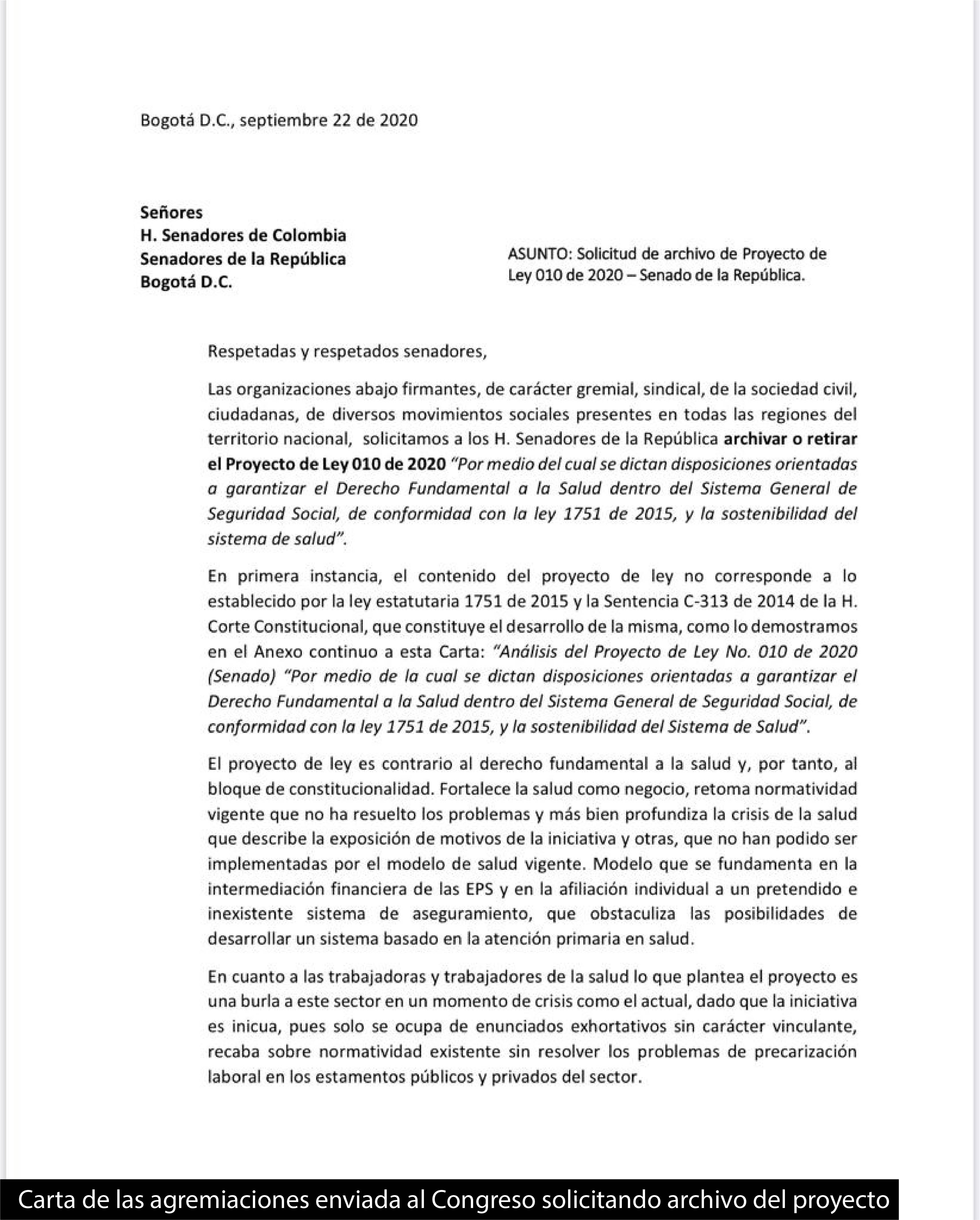 Carta de las agremiaciones