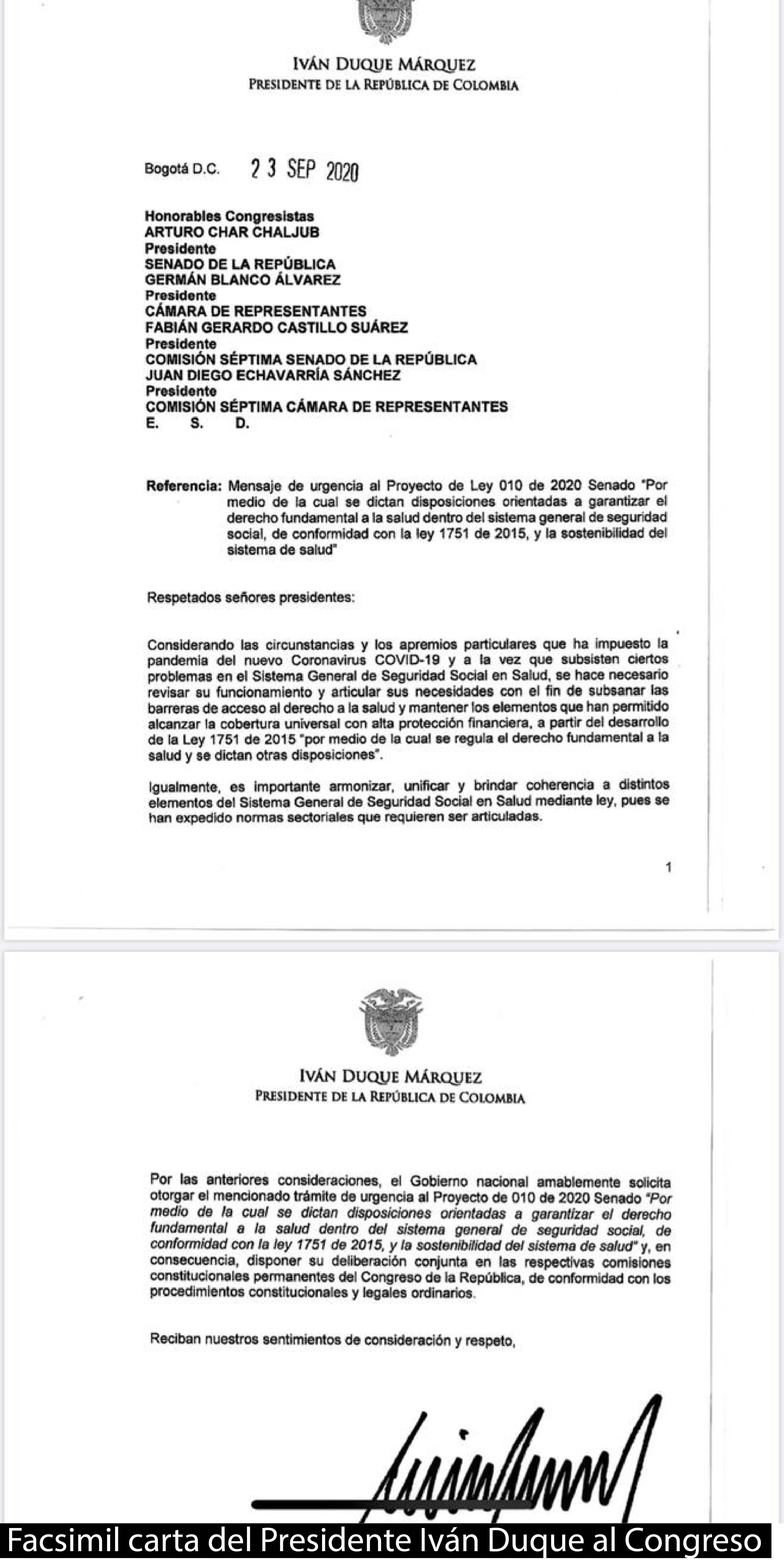 CARTA DEL PRESIDENTE AL CONGRESO