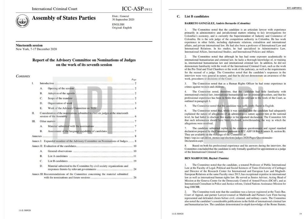 Informe de CPI con el análisis de los aspirantes