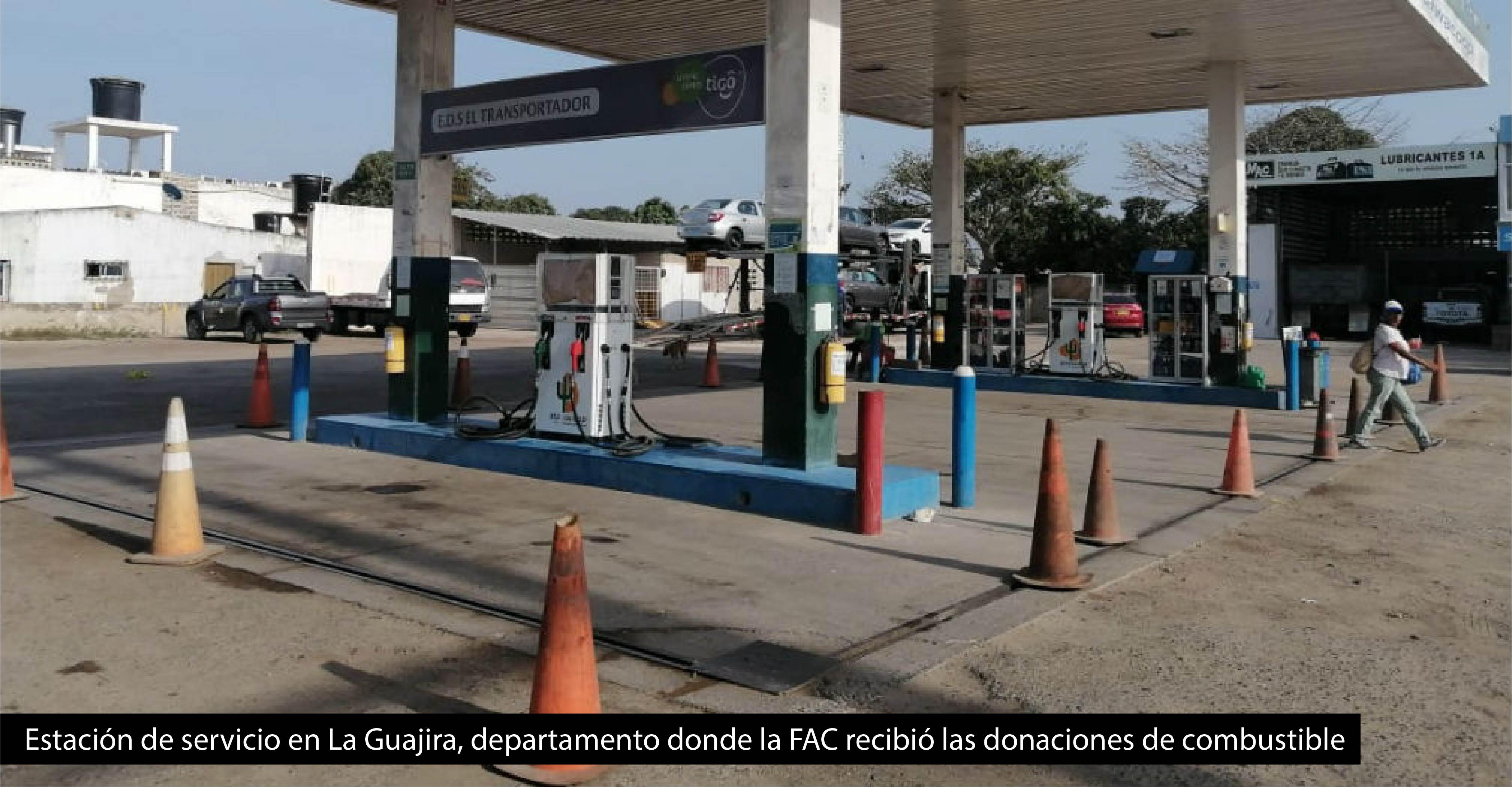 Estación de servicio en La Guajira, departamento donde la FAC recibió las donaciones de combustible