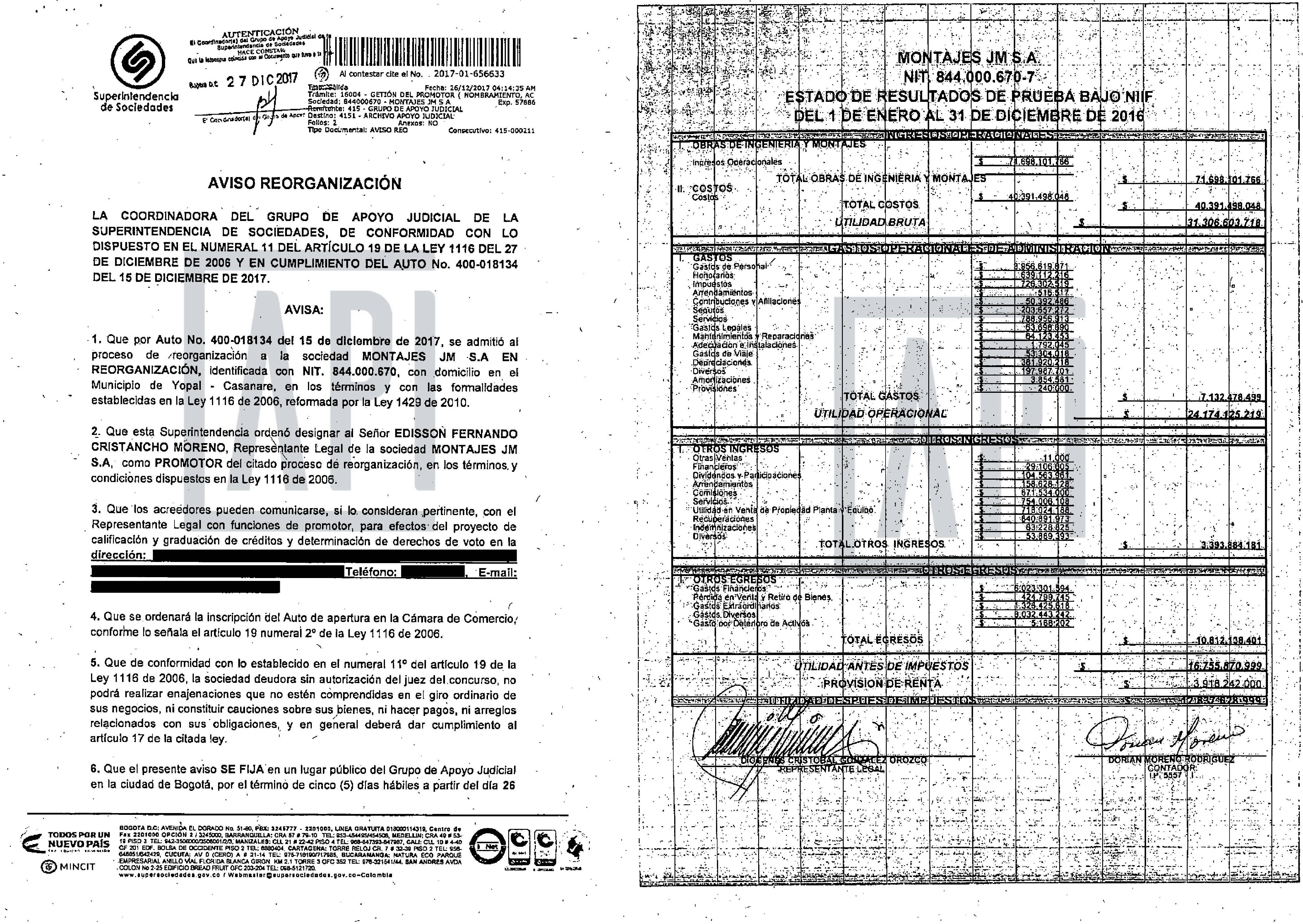 FACSIMIL ACTA DE PROCESO DE INSOLVENCIA DE MONTAJES