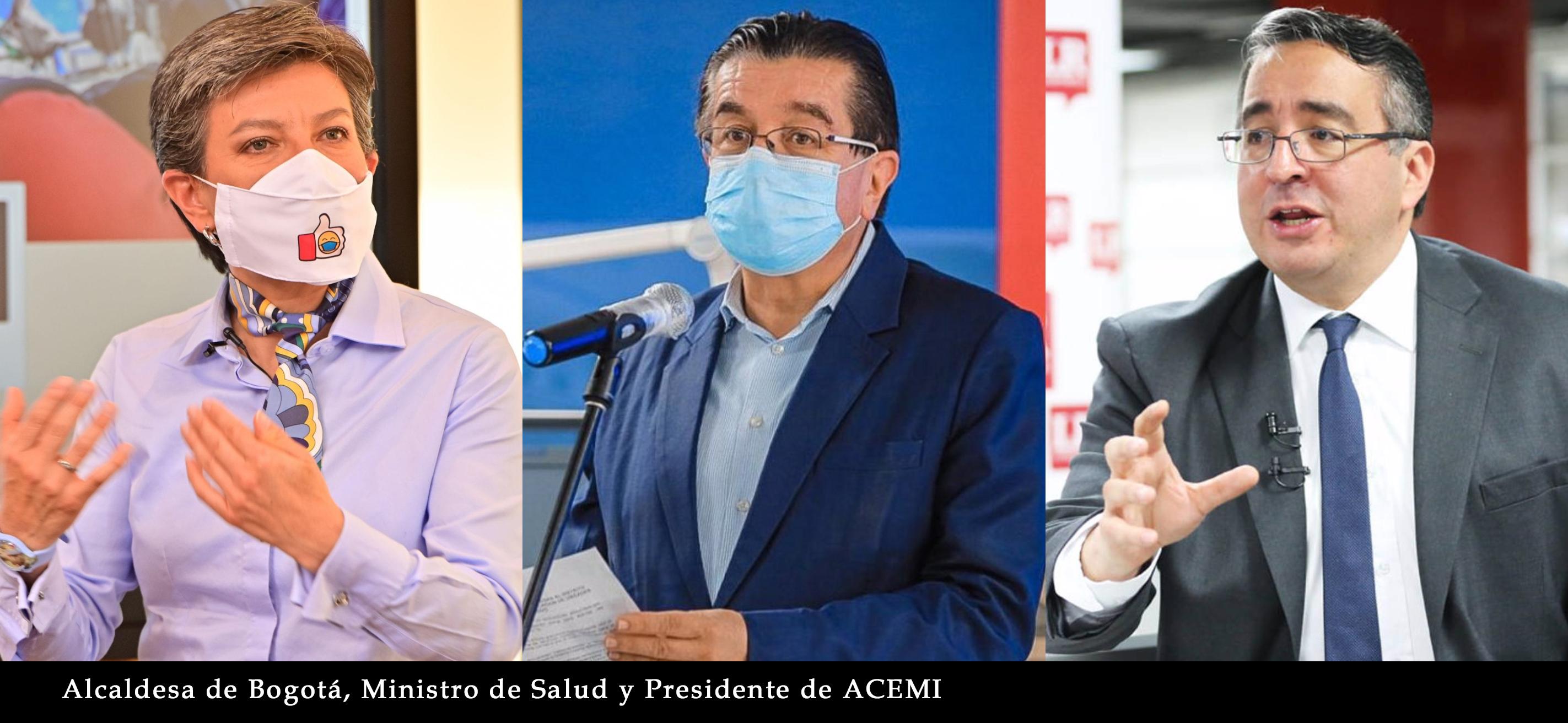 FOTO DE ALCALDESA DE BOGOTA, PRESIDENTE DE ACEMI Y MINISTRO DE SALUD