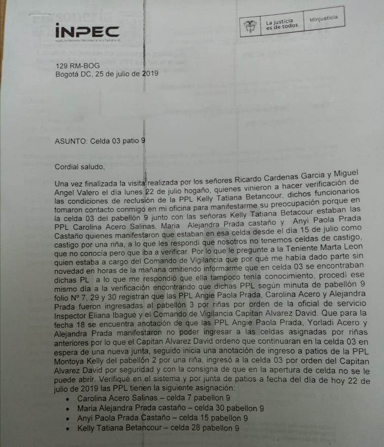 FACISIMIL DE COMUNICACIÓN DEL 25 DE JULIO DIRIGIDA A IMELDA LOPEZ ASUNTO CELDA 3 PATIO 9