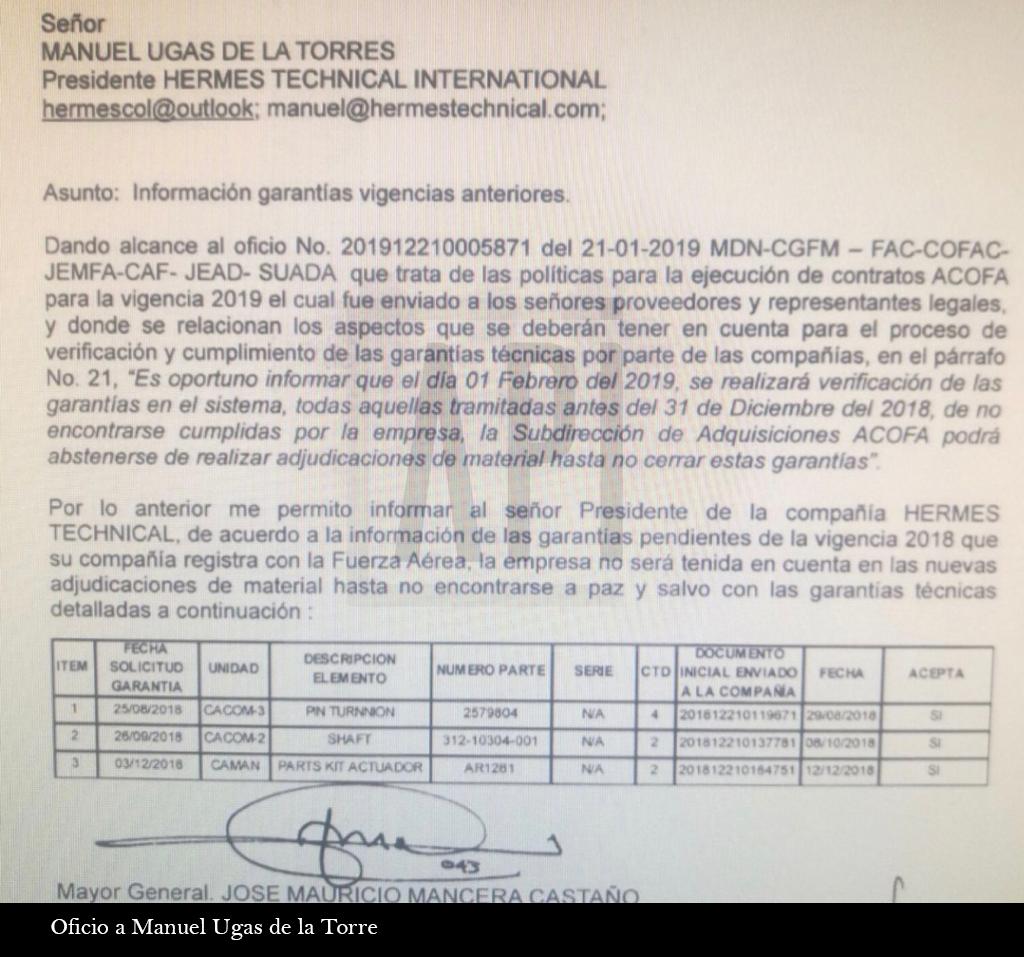 IMAGEN DE OFICIO A MANUEL UGAS DE LA TORRE